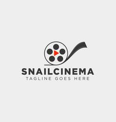 Snail cinema movie video simple art film logo vector