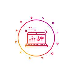 sound check line icon dj controller sign vector image