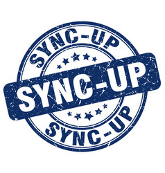 Sync-up blue grunge stamp vector