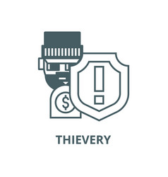 Theftthievery steal insurance line icon vector