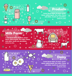 thin line art dairy web banner template set vector image