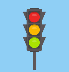 Traffic light isolated icon green yellow red vector