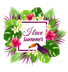 tropical flowers and toucan vector image