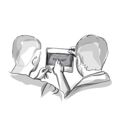 two doctors analyzing xray diagram sketch vector image