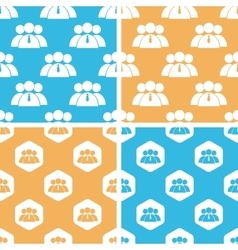 User group pattern set colored vector image