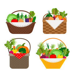 vegetables in baskets set vector image