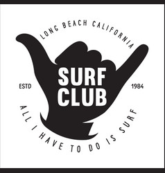 vintage surfing emblem for web design or print vector image