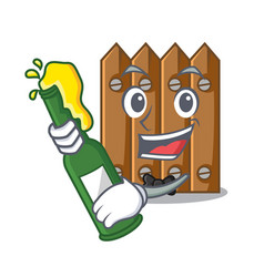 With beer wooden fence pattern for design cartoon vector