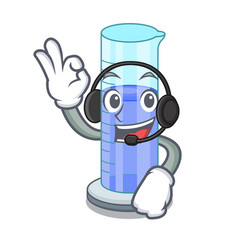 With headphone graduated cylinder on for cartoon vector