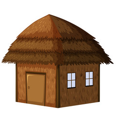 wooden hut on white background vector image