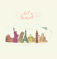 World travel and sights tourism banner with hand vector