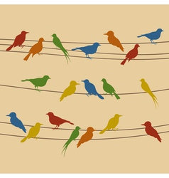 birds sit on wires vector image vector image