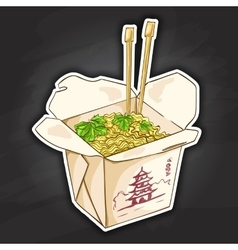 chinese noodles box color picture sticker vector image