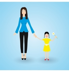 Family Mother and happy daughter with flower in vector image vector image