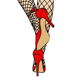 High Heels and Fishnet vector image vector image