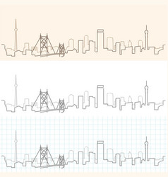 johannesburg hand drawn skyline vector image