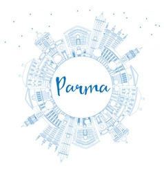 Outline Parma Skyline with Blue Buildings vector image vector image