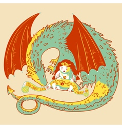 princess and dragon vector image vector image