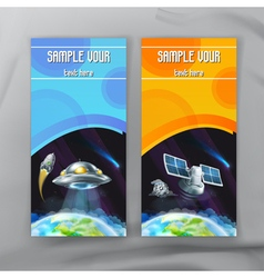 Set of space flyers brochure template design vector image vector image
