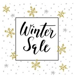 Winter sale background with handwritten text vector