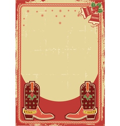 abstract christmas card background with cowboy vector image