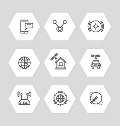 media and communication ways icons line art style vector image