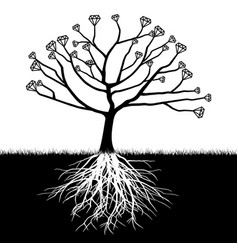 a tree with diamonds vector image vector image