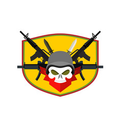 Army logo skull soldiers badge military emblem vector