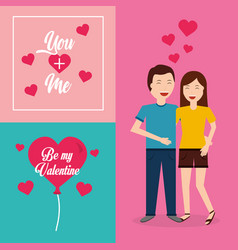Be my valentine couple smiling hugging card vector
