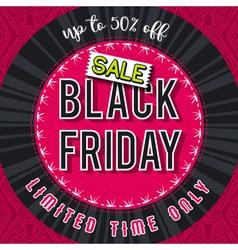 Black friday sale banner on red patterned backgrou vector image vector image