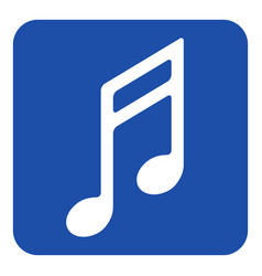Blue white information sign - musical note icon vector