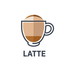 coffee latte drink cup flat icon for cafe vector image