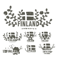 Collection of black and white labels of Finland vector image