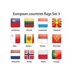 European countries flags set 3 vector image vector image