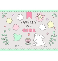 Greeting card for girl birthday vector image vector image