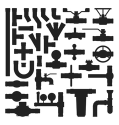 Pipes icons silhouette isolated vector image