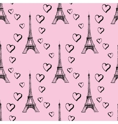 Seamless pattern Eiffel Tower with hearts vector image vector image