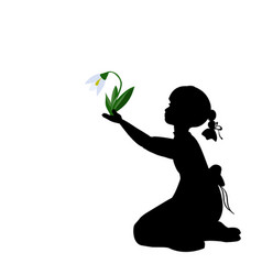 silhouette girl with spring snowdrops vector image vector image