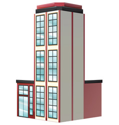 Architecture design for apartment building in red vector