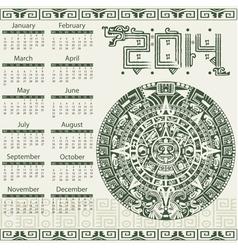 Calendar 2014 in mayan style vector image vector image