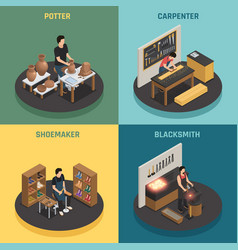 Craftsman professions 2x2 design concept vector