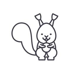 cute squirrel line icon sign vector image vector image