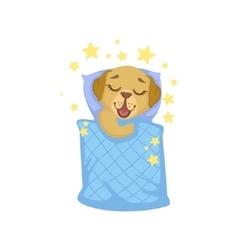 Puppy Sleeping In Bed vector image