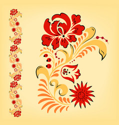 russian folk floral traditional ornament vector image