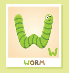w is for worm letter w worm cute vector image