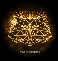 Abstract polygonal tirangle animal raccoon neon vector