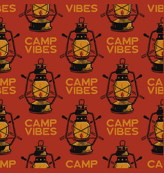 adventure seamless pattern with camping lantern vector image