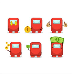 Among us red cartoon character with cute emoticon vector
