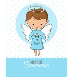 Angel praying communion or baptism card vector