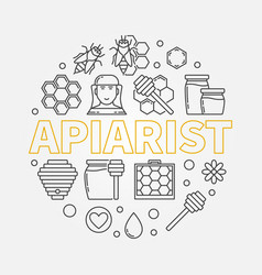 Apiarist round in thin line vector